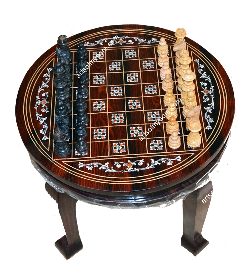 Charming Round Chess Board Teepoy.