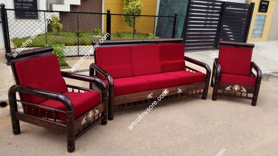 Rosewood 3 1 Sofa Set With Round Handles