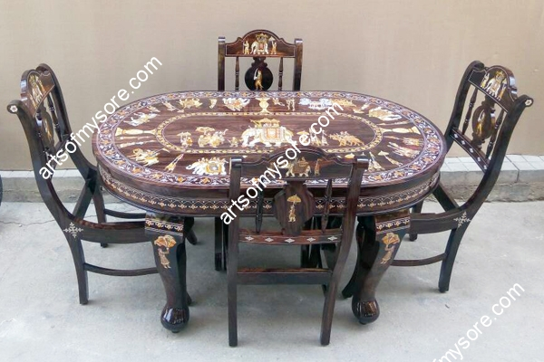 Rosewood Ambari Design Four Seater Dining Table
