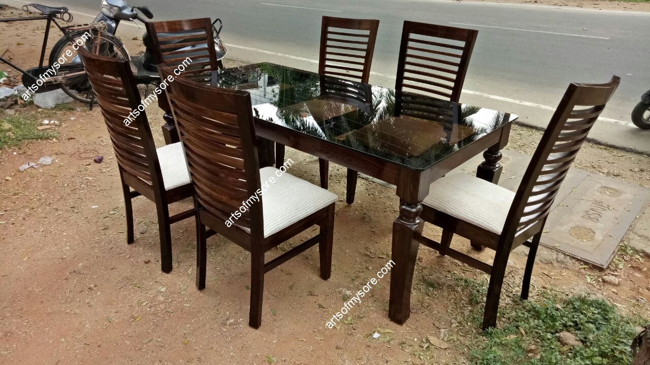 Rosewood Dining Table Set With Tinted Gl Top